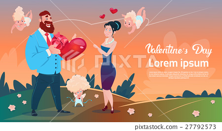 Valentine Day Gift Card Holiday Lovers Couple Love 27792573