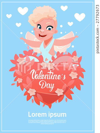 Valentine Day Gift Card Holiday Amour Love Cupid Stock