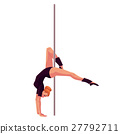 Young pole dance woman in black leotard doing hand 27792711