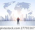 Business Man Silhouette Over City Landscape World 27793367