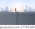 Business Man Silhouette On Office Building Roof 27793389