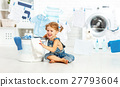 child fun happy little girl to wash clothes in laundry room 27793604