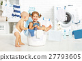 little helpers funny kids happy  in laundry to wash clothes, pla 27793605