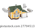 Security cameras on the house, 3D rendering 27794513