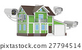 Security CCTV cameras on the house, 3D rendering 27794514