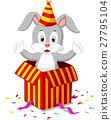 rabbit cartoon coming out of gift box 27795104