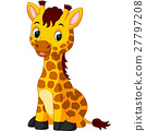 Cute giraffe cartoon 27797208