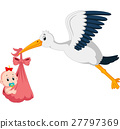 stork with baby cartoon 27797369
