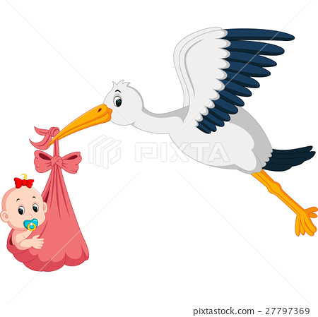 stork with baby cartoon 27797369