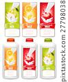 Set of three labels of of fruit in milk splashes. 27798038