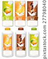 Set of three labels of  fruit in milk splashe 27798040