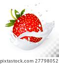 strawberry, milk, vector 27798052