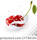 Couple of cherries in a milk splash  27798104