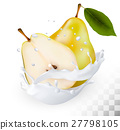 Ripe yellow pears in a milk splash  27798105