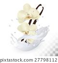 Vanilla sticks with flowers in a milk splash  27798112