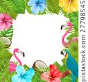 flamingo, hibiscus, bird 27798545