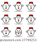 Cute chicken cock cartoon icon in variety emotion 27799253