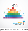 Infographic Template step building Pyramid blocks 27800350
