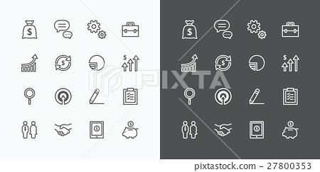 Business icons set. flat line design vector 27800353