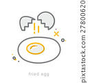 Thin line icons, Fried egg 27800620