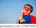 Happy little child playing superhero. 27807046