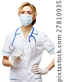 Woman doctor standing on white background 27810935