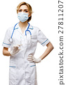 Woman doctor standing on white background 27811207
