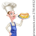 Cartoon Chef With Hot Dog and Chips 27814932