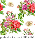 Watercolor painting of leaf and flowers pattern 27817861