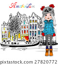 Vector Amsterdam canal and typical dutch houses 27820772
