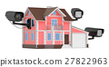 Security cameras on the home, 3D rendering 27822963