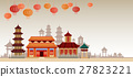 Chinese Traditional Abstract Buildings Colorful 27823221