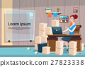 Business Woman Sitting Desk Working Place Office 27823338