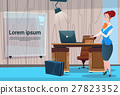 Business Woman Cabinet Desk Working Place Office 27823352