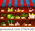 Vegetable shop showcase stand with vegetables 27824182