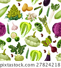 Vegetables vegetarian vector seamless pattern 27824218