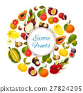 Exotic and tropical fresh fruits vector poster 27824295