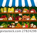 Exotic fruits showcase booth fruit shop stand 27824296
