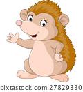Cute hedgehog cartoon waving 27829330
