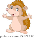 Cute hedgehog cartoon presenting 27829332