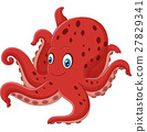 Cartoon smiling octopus 27829341