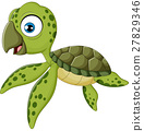 Cartoon baby turtle swimming, 27829346