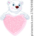 Polar Bear Holding Heart Shape Sign 27829498