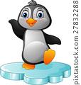 Cartoon penguin standing on floe 27832288