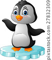 Cartoon penguin standing on floe 27832309