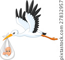 Cartoon stork carrying baby 27832957