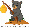 Cartoon bear holding branch with bee hive 27832998