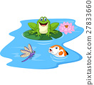Cute green frog cartoon on a lily pad 27833660