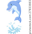 Cute cartoon dolphin jumping out of water 27833663
