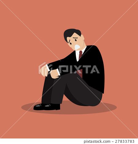 Desperate businessman sitting alone 27833783